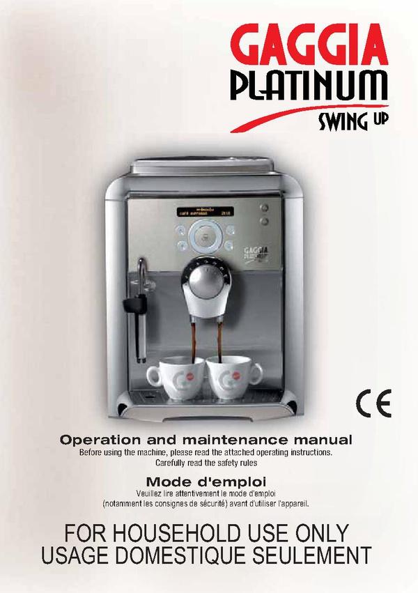 Gaggia platinum swing titanium sup034nr